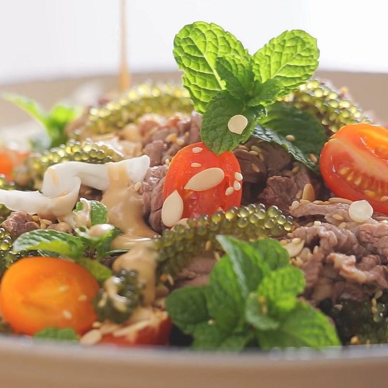 Salad rong nho thịt bò